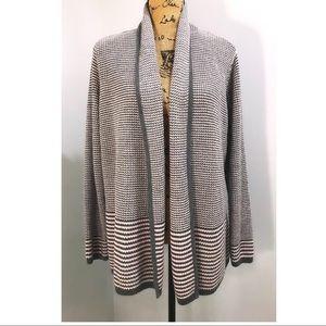 Croft & Barrow Grey & Cream Striped Cardigan